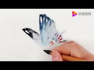 Китайская живопись. Гохуа. Рисуем бабочку