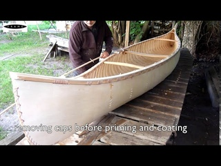 Building a birch bark style canoe with plywood - part 5 - caps, priming and coating - final part