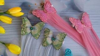 Шифоновые бабочки на заколке с прядями.Это хит летнего сезона#бабочки#локоны#бантики