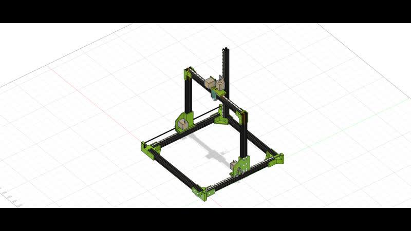 Моделирование 3д принтера средствами Fusion 360 Ось X Ocь Y Ремень часть 3 Общая схема