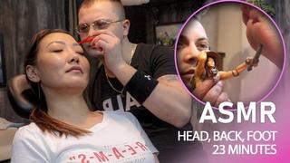 ASMR   HILARIOUS BARBER MASSAGE - Head, Back, Foot