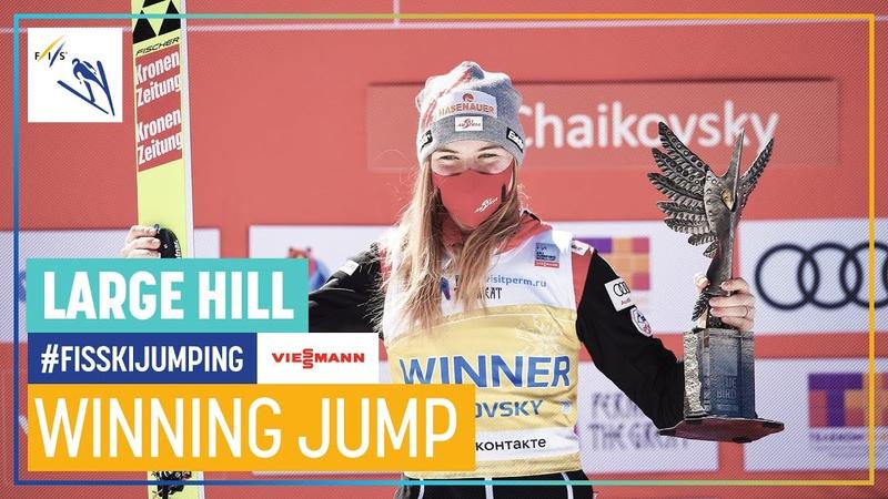 Marita Kramer 1st place 146 5 mt New Hill Record Chaikovsky Women's LH FIS Ski Jumping