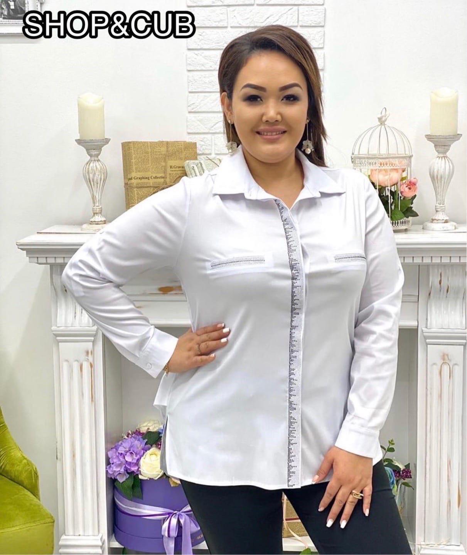 в люксовом исполнении  Качество очень хорошее  Отличная Модная рубашка с выделкой  ____________________________________________ Расцветки: чёрный и белый  Состав ткани: хлопок/полиэстер (тянется)  Длина изделия: 75 см (выделка на спинке от плеча 65 см)  К