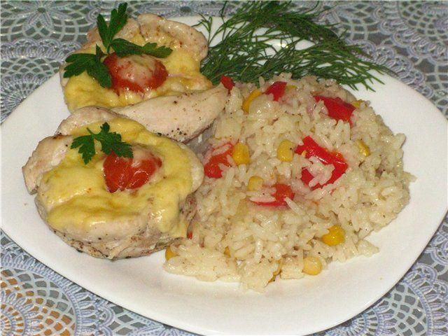 Рулладини и рис с овощами