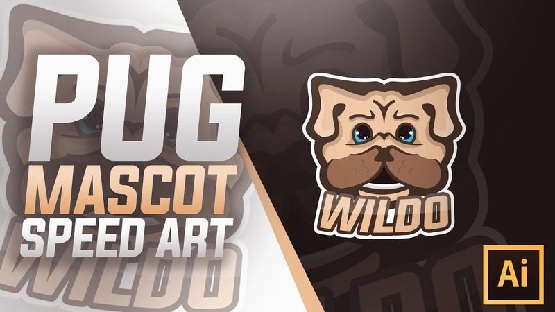 Pug Mascot Logo Speed Art in Adobe Illustrator 2018