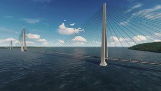Мостовой переход через реку Лена в районе Якутска (3D-визуализация)