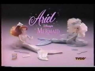 The little mermaid 1991 Tyco Undersea party dolls Ariel and Arista dolls commercial