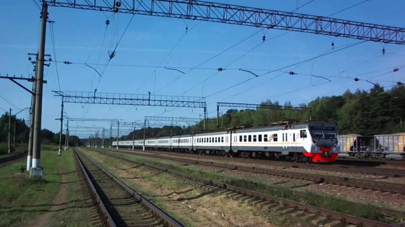 Электропоезд ЭД4М 0466 из Калуги следует в Москву и прибывает в Бекасово 1
