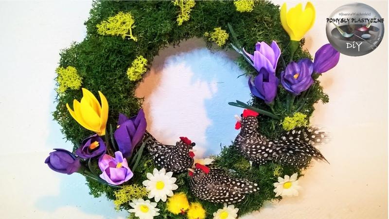 Jak zrobić wiosenny zielony wianek na drzwi z kurami z piórek i kwiatami Pomysły plastyczne DiY