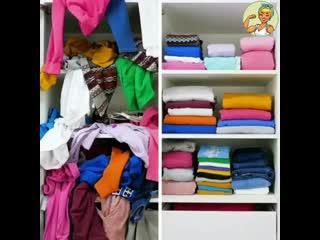 Лайфхак как красиво сложить вещи в шкафу