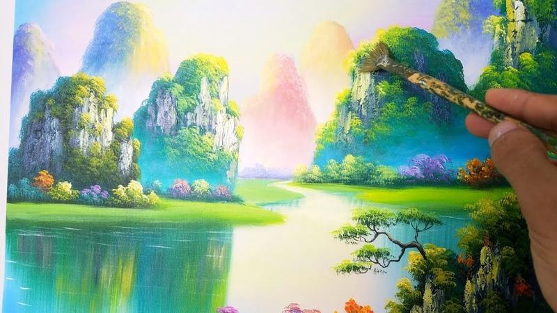 Dạy vẽ tranh phong cảnh sơn thủy bài 3 khóa học vẽ tranh online miễn phí Landcape painting