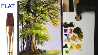Paint a tree by using different sides of flat brush in acrylic