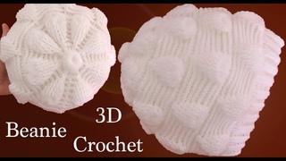 Gorro a Crochet en punto de hojas blancas en 3D tejido tallermanualperu