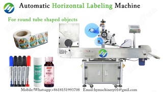 Automatic Horizontal Sticker Label Machine | Round and Slim Object Labeling Machinery