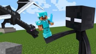 Видео обзор - Стив Майнкрафт Лего защищается от Мобов Эндер Мира! - Minecraft игры битвы онлайн