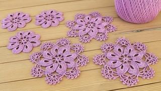 Простой ЦВЕТОК в цветочном мотиве ВЯЗАНИЕ КРЮЧКОМ мастер-класс Crochet Easy Flower Motif