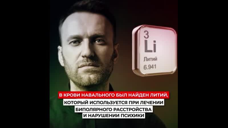 Наличие лития в крови Навального объясняется лечением нарушений психики