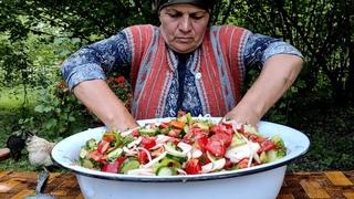 Qış Tədarükü-Öz Bostanımızın Tərəvəzlərdən Bol Vitaminli Salat, ASMR food