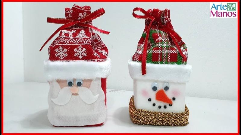 Cómo hacer dulceros de Santa y Muñeco de Nieve con Cajas recicladas ☃️🎅🎄