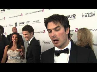 Ian Somerhalder at Elton John Party(interview by exTRA) 2013/2/24