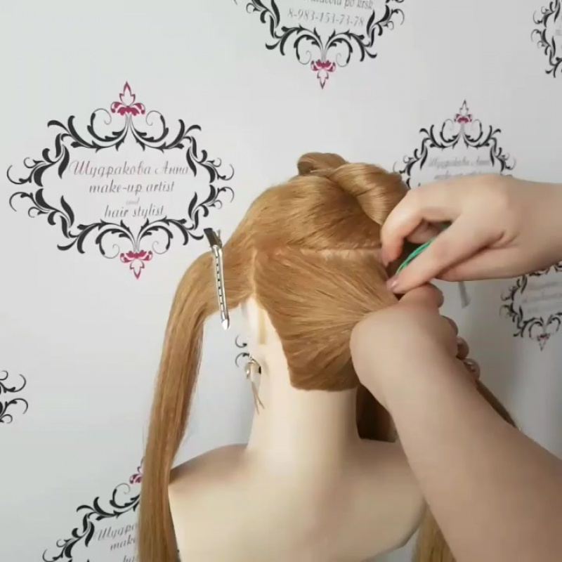 Лилии из волос по мк Г.Кота. Вечерняя прическа