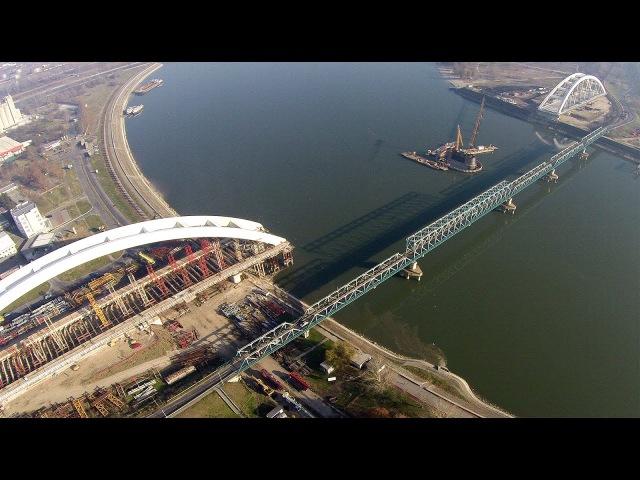Izgradnja novog mosta na Dunavu Novi Žeželjev most Snimanje iz vazduha !