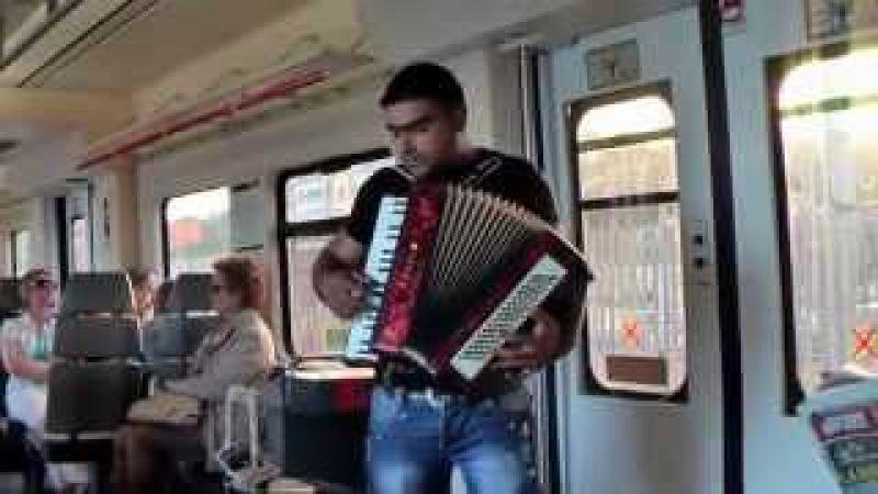Гармонист в электричке в Барселоне Der Harmonikaspieler in der Vorortbahn in Barcelona