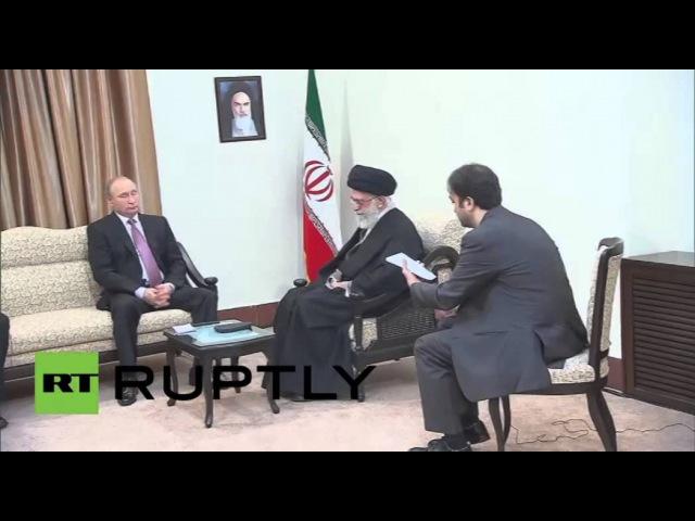 لقاء بين الرئيس الروسي فلاديمير بوتين والمرشد الأعلى للثورة الإيرانية آية الله على خامنئي في طهران