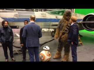 Don't forget bb-8 the duke and prince harry say hi to the star wars cast!