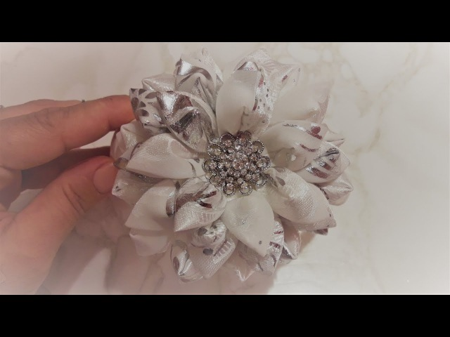 Ободок канзаши цветок из ткани ✔ Marine DIY Guloyan✔