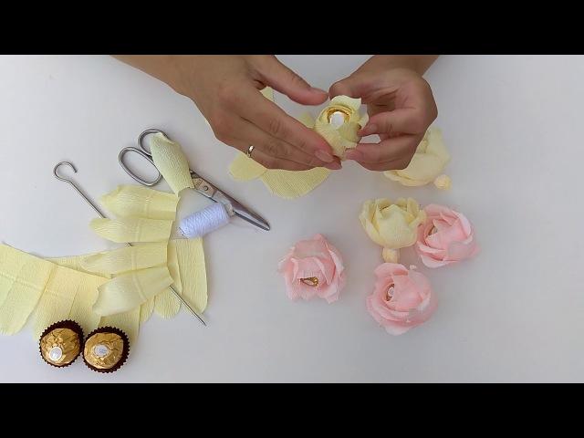 Майстер клас Троянда з цукеркою Кріплення за допомогою нитки