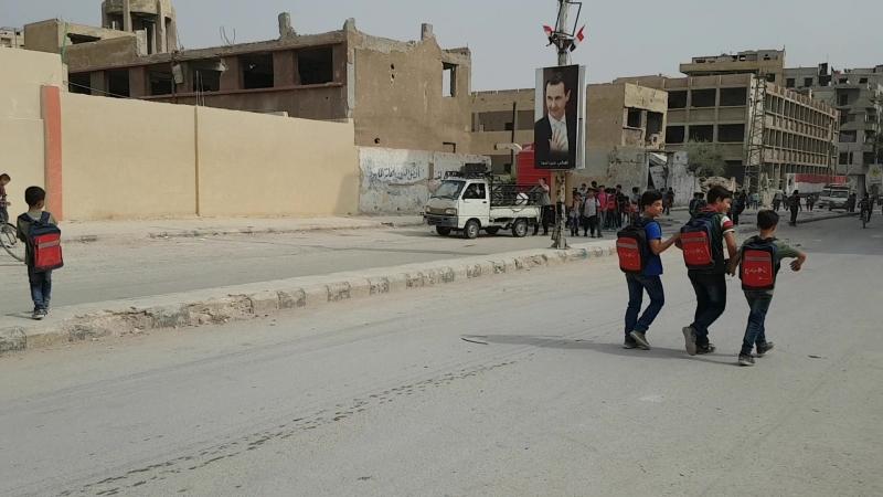 Children leaving school in Ayn Tarma East Ghouta Syria