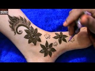 Stylish Dubai Mehndi Design For Feet _ Floral Henna Mehendi Art For Festival