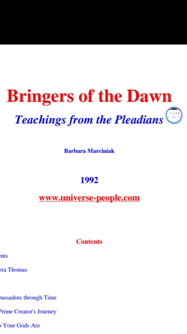 Bringers Of The Dawn, Teachings from the Pleadians - Barbara Marciniak