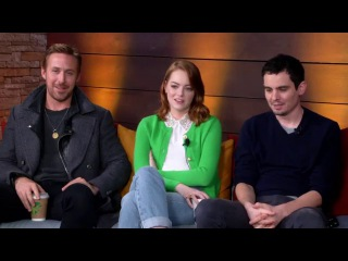 The stars of La La Land Ryan Gosling, Emma Stone and director Damien Chazelle
