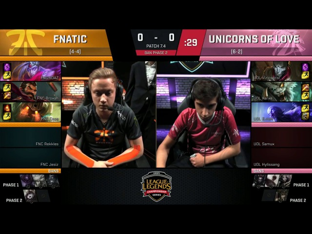 Fnatic vs Unicorns of Love Game 1 S7 EU LCS Spring 2017 Week 7 Day 2 FNC vs UOL G1 W7D2