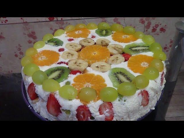 Нежный фруктовый торт без выпечки