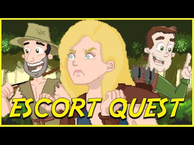 Escort Quest Epic NPC Man animated 8 bit escort quest game logic cartoon VLDL