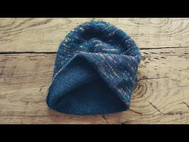 Двухслойная шапка спицами Базовая модель МК