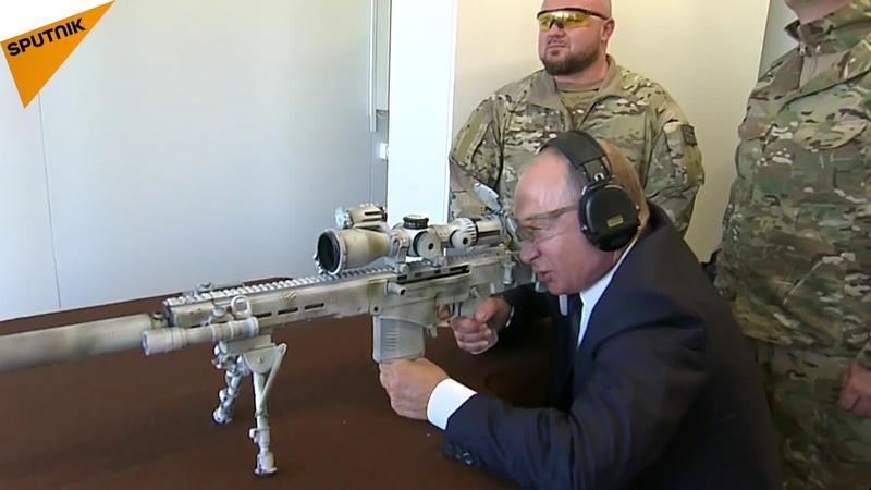 Poutine s'entraîne au tir avec un fusil de précision Kalachnikov
