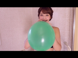 Asian green balloon blow and