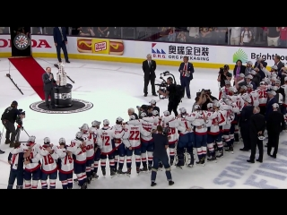 Alexander Ovechkin lifts Stanley Cup after Capitals victory!!!