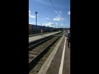 Прибытие ретро-поезда в Кострому