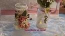 Frascos de cafe decorado con encaje y flores