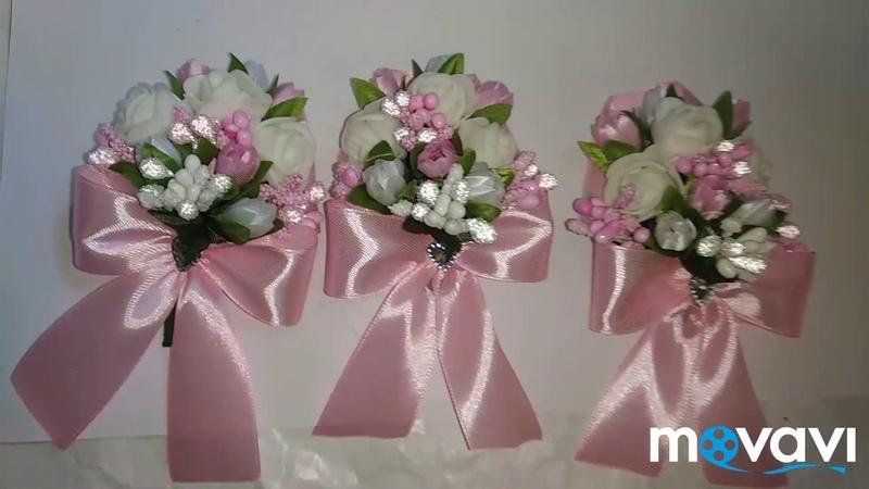 Бутонєрки для батьків дружок свідків рози мк тюльпани розовий білий тичинки бантики