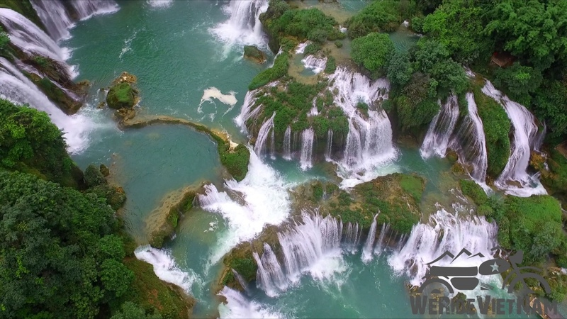 We Ride Vietnam Tours Drone Footage Ban Gioc waterfall North East Vietnam Motorbike Tour