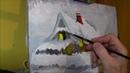 Maluj sam - Zimowy pejzaż - Chatka cz 1