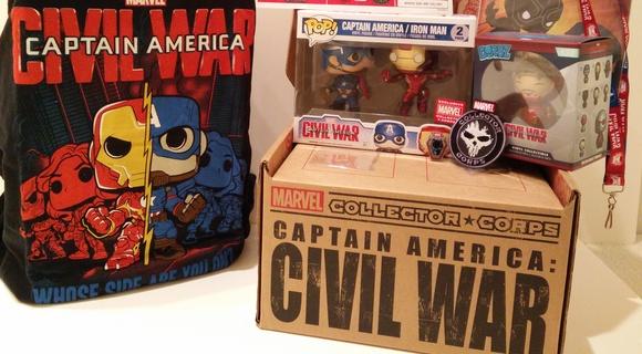 "DAMAGED BOX MARVEL COLLECTOR CORPS CAPTAIN AMERICA /& IRON MAN 3.75/"" POP VINYL"
