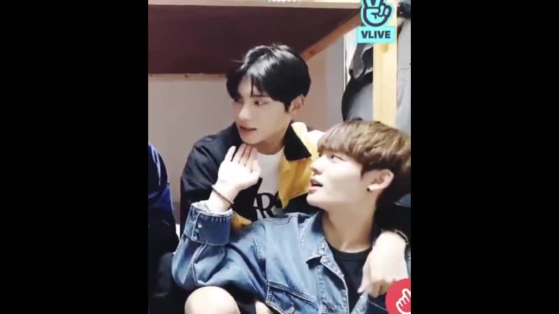 Channie patting junhees chin to get his attention