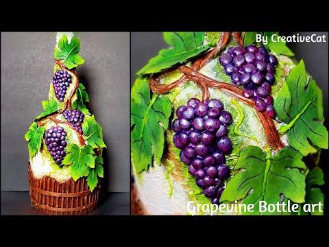 Grapevine bottle art bottle decoration Altered bottle Wine bottle craft Home decoration